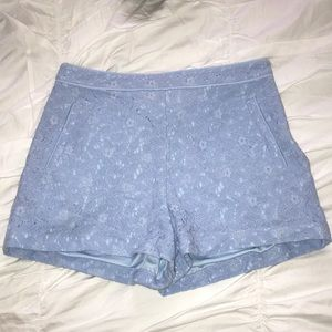 Blue Lace High Waisted Shorts